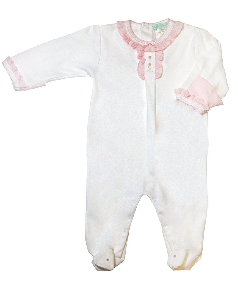 Rose Vine White Footie - Little Threads Inc. Children's Clothing