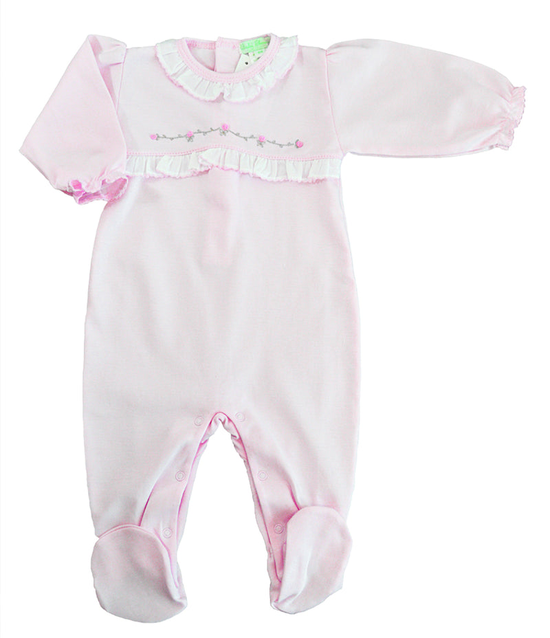 Pink Rosebuds Pima cotton baby girl footie - Little Threads Inc. Children's Clothing