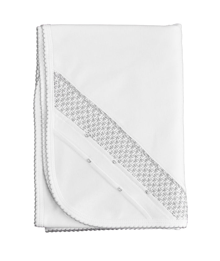 White/grey Pima cotton hand smocked blanket