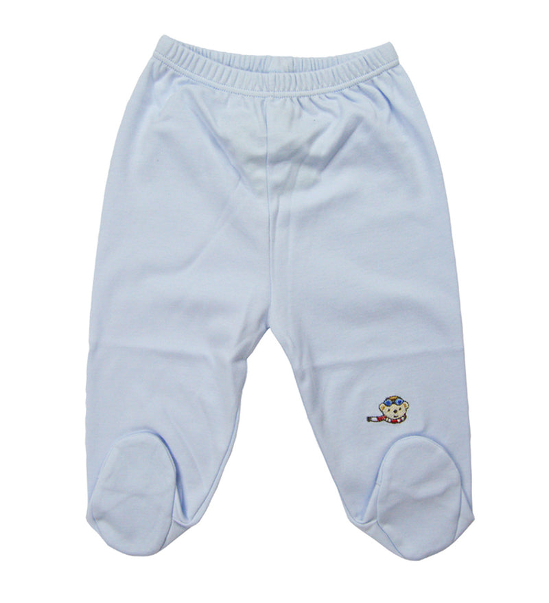 Blue pima cotton baby boys pants - Little Threads Inc. Children's Clothing