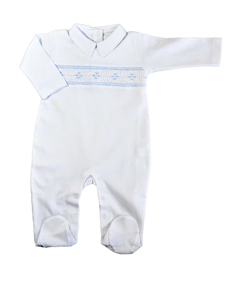 Hand Smocked white Pima Cotton Footie - Little Threads Inc. Children's Clothing