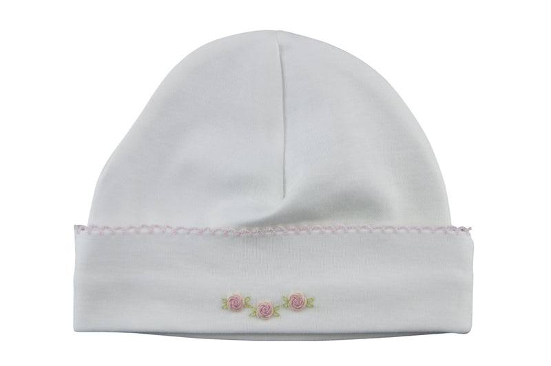 Baby Girl Knot Hat with Rosebuds Embroidered - Little Threads Inc. Children's Clothing