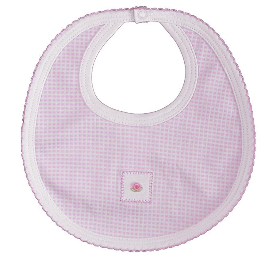 Pink Checks rosebud  Bib - Little Threads Inc. Children's Clothing