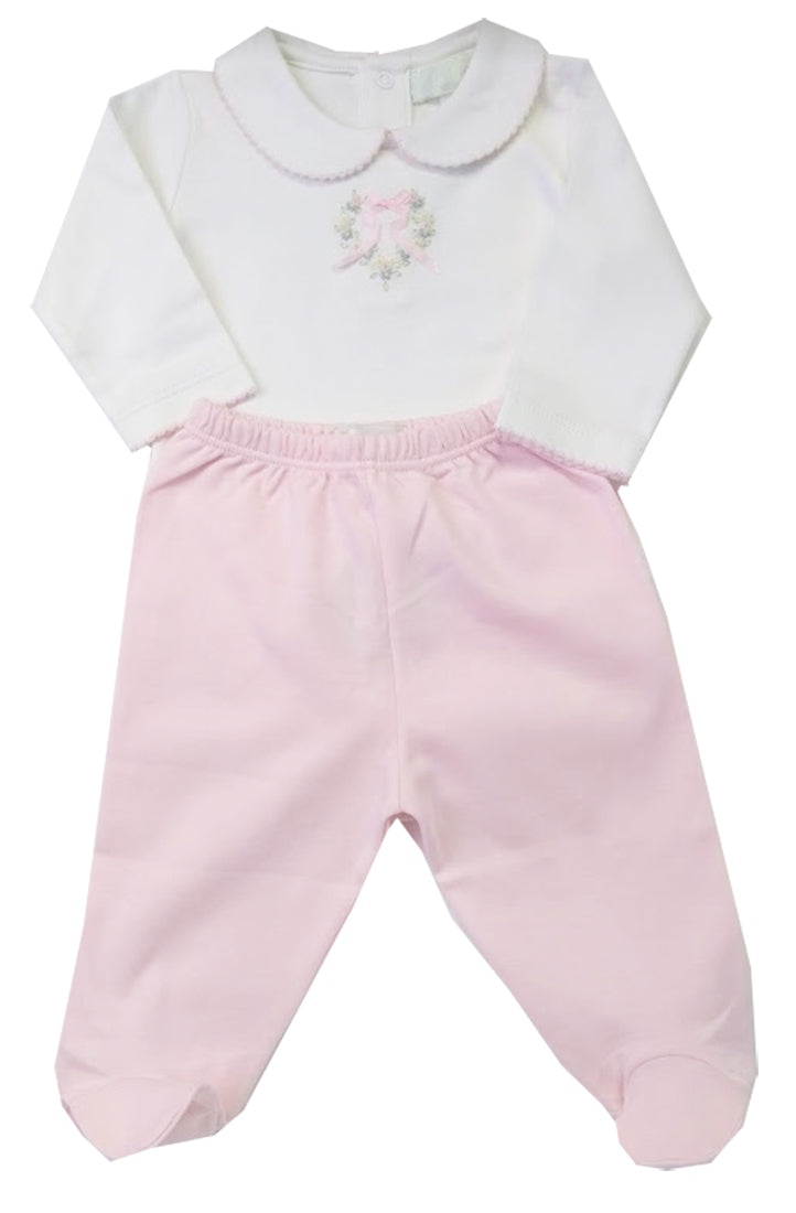 Heart roses embroidered baby girl onesie