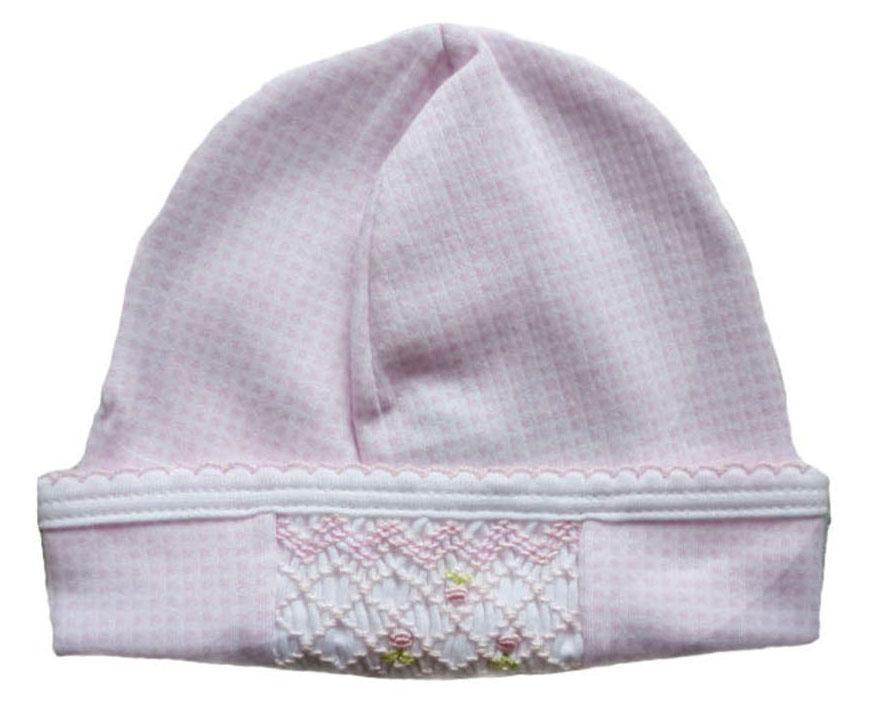 Pink Check Smocked Hat - Little Threads Inc. Children's Clothing