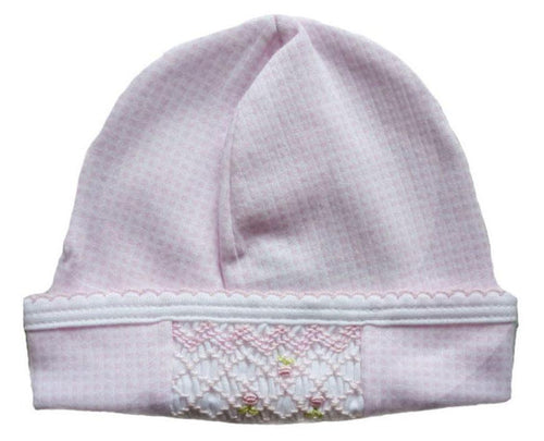 Pink Check Smocked Hat