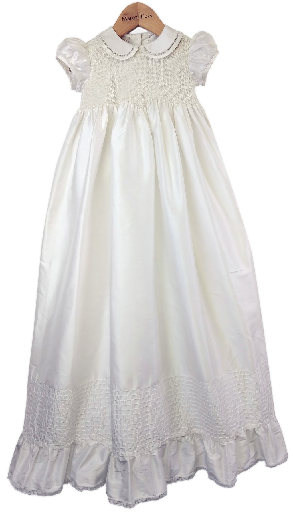 Silk Hand Smocked Christening gown - Little Threads Inc. Children's Clothing