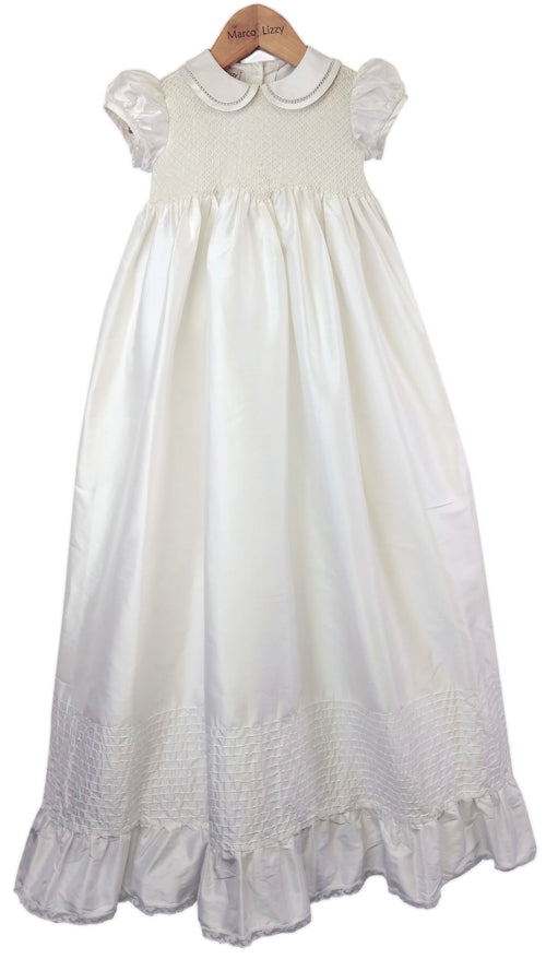 Silk Hand Smocked Christening gown