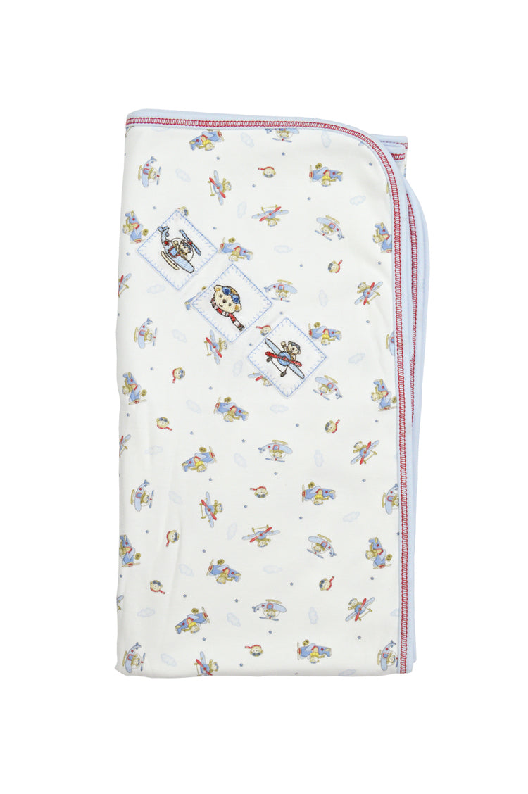 Baby Boy's Bears in Plane Blanket - Little Threads Inc. Children's Clothing