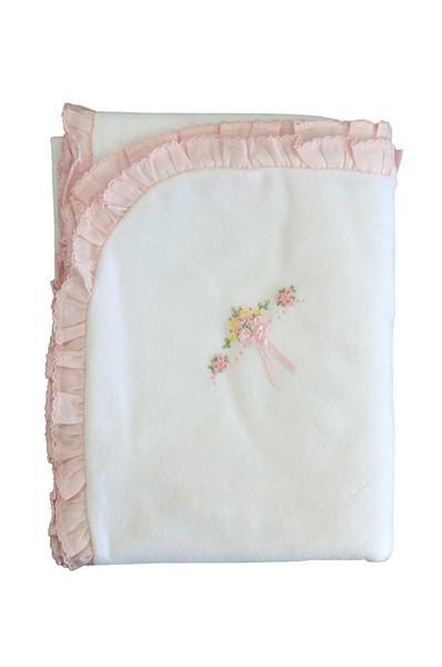 White Velour Girls Blanket with Flowers & Bow - Little Threads Inc. Children's Clothing