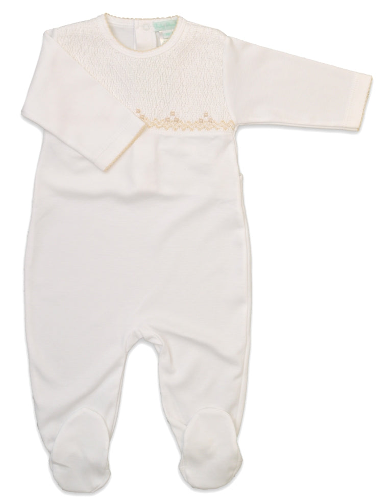 Full Smocked Unisex Pima cotton Footie - Little Threads Inc. Children's Clothing