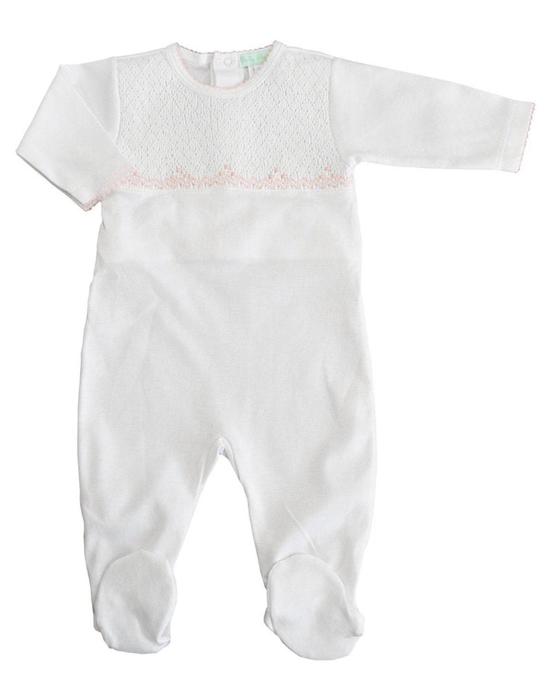 White Full Smocked Footie with pink trim - Little Threads Inc. Children's Clothing