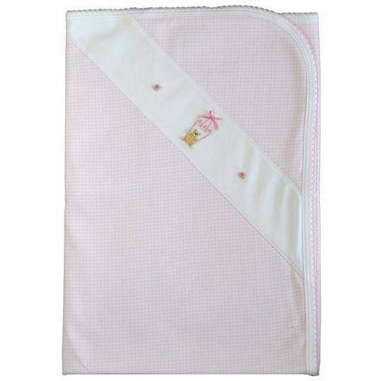 Bear on Balloon Pink Check Blanket - Little Threads Inc. Children's Clothing