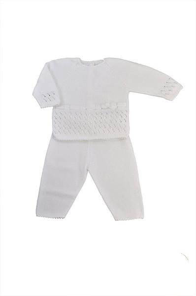 White Knitted Girl's Sweater & Pant Set - Little Threads Inc. Children's Clothing