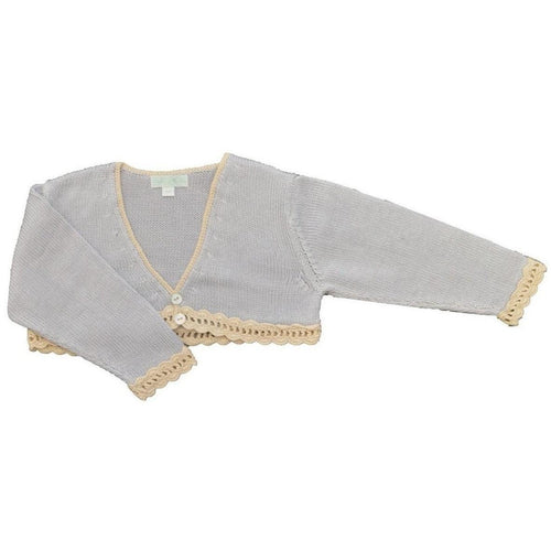 Blue & Ivory Mercerized Cotton Bolero Sweaters