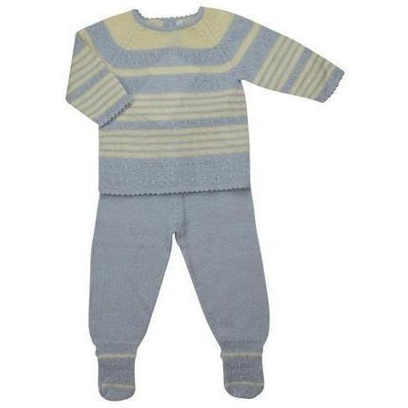Blue & Ivory Striped Baby Alpaca Sweater & Pant Set