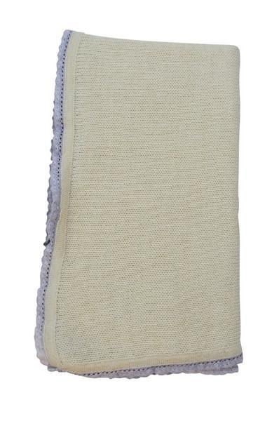 Ivory Baby Alpaca Blanket with Grey Trim - Little Threads Inc. Children's Clothing