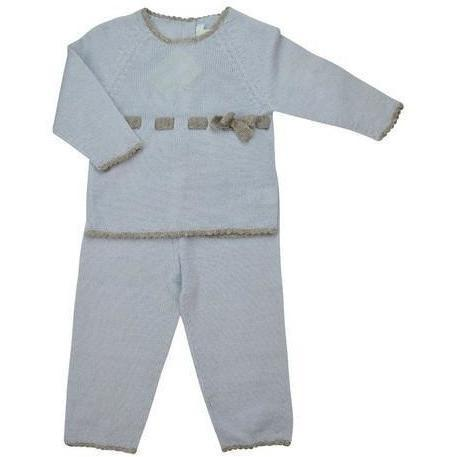 Blue & Grey Baby Alpaca Sweater & Pant Set