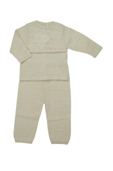 Ivory Baby Alpaca Sweater and Pant Set with Pink Trim