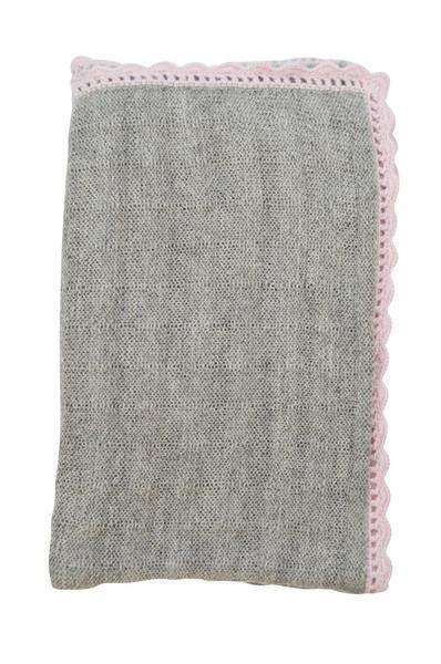 Grey Baby Alpaca Blanket with Pink Trim
