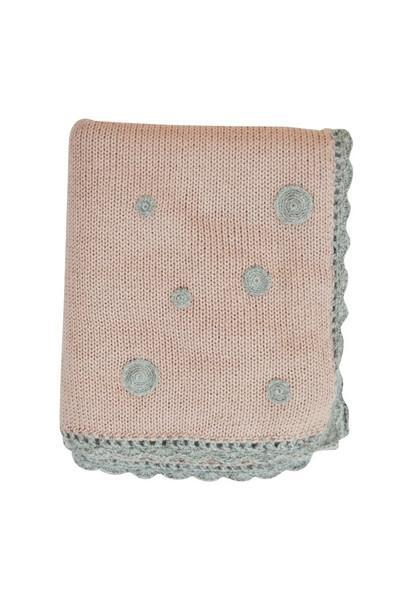 Pink Baby Alpaca Blanket with Grey Trim - Little Threads Inc. Children's Clothing