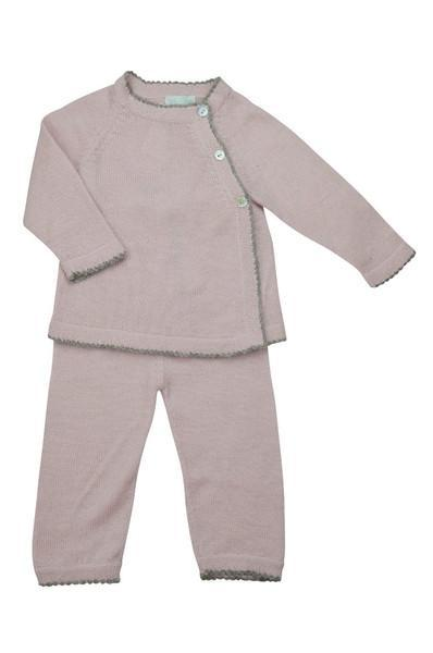 Pink Baby Alpaca Pant Set with Grey Trim - Little Threads Inc. Children's Clothing