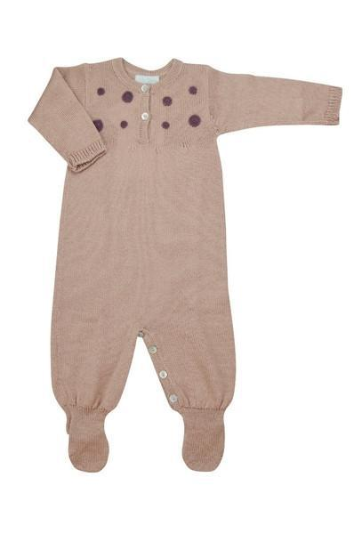 Pink Baby Alpaca Footie with Burgundy Dots - Little Threads Inc. Children's Clothing