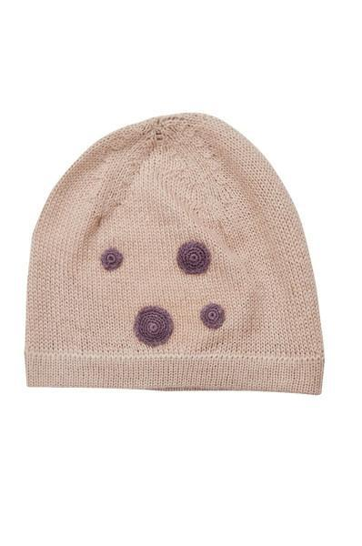 Pink Baby Alpaca Hat with Burgundy Dots - Little Threads Inc. Children's Clothing