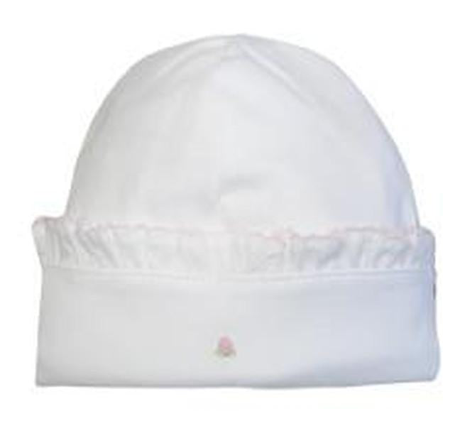 Rosebud White Hat with White Ruffle - Little Threads Inc. Children's Clothing
