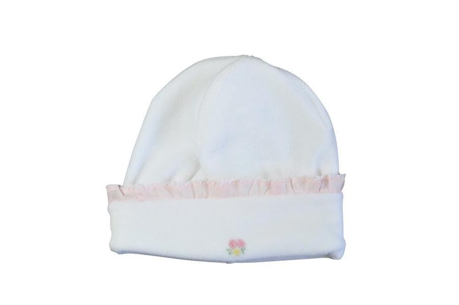White Velour Girls Hat with Pink Trim and Roses - Little Threads Inc. Children's Clothing