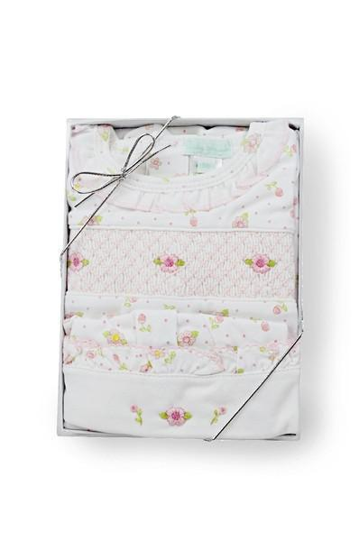 Roses Print Smocked Gift Set (2 pieces)