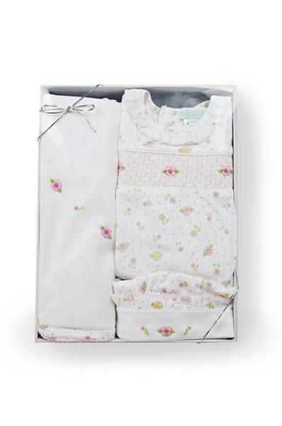 Roses Print Smocked Gift Set (3 Pieces)