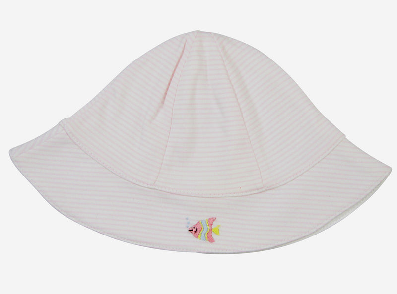Pink stripe pima cotton fish sun hat - Little Threads Inc. Children's Clothing