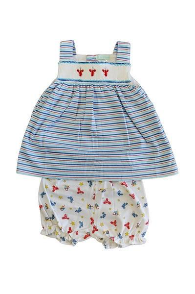 Lobster Smocked Dress with Print Bloomer