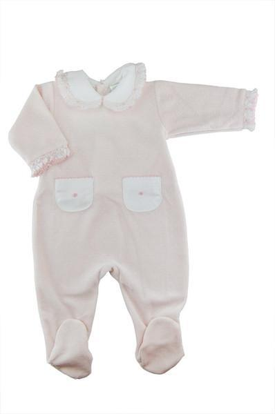 Pink Swiss Dot Velour Footie - Little Threads Inc. Children's Clothing
