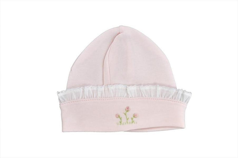 Rose Vine Pink Hat with White Ruffle - Little Threads Inc. Children's Clothing