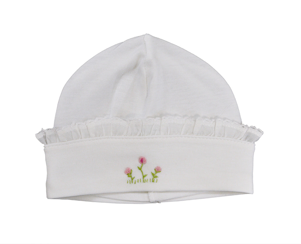 Baby Girl's White Ruffle Hat with Rosebuds - Little Threads Inc. Children's Clothing