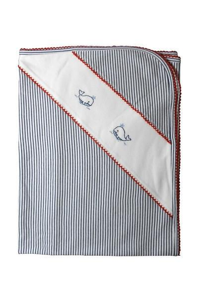 Whale Nay Blue Stripe Blanket - Little Threads Inc. Children's Clothing