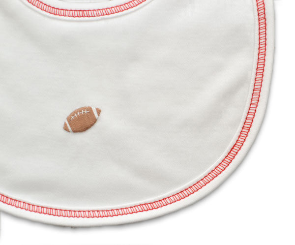 Pima cotton football baby bib - Little Threads Inc. Children's Clothing