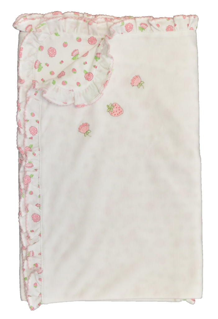 Strawberry and Rose Girl Blanket - Little Threads Inc. Children's Clothing