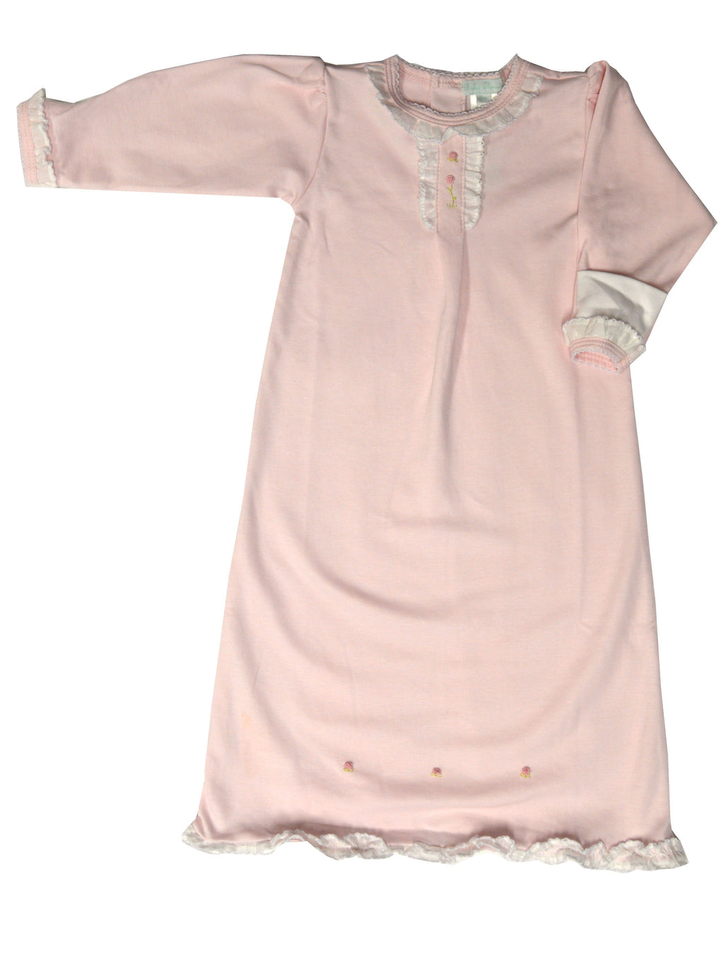 Baby Girl's Pink Ruffle Collar Rose Daygown - Little Threads Inc. Children's Clothing
