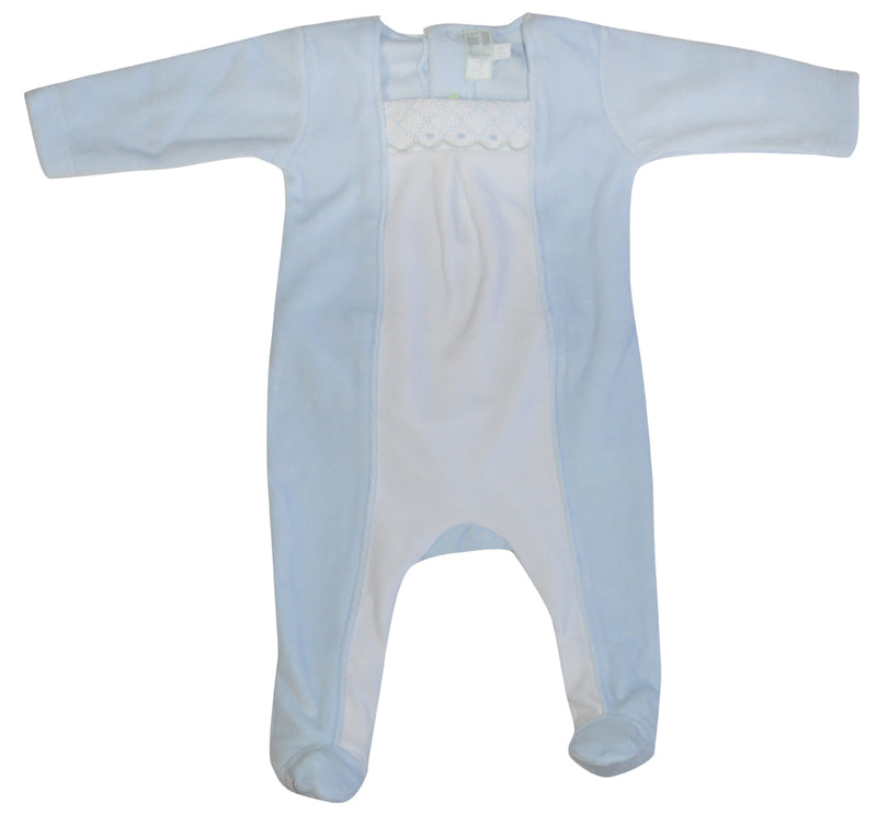 Blue and White Smocked Velour Footie - Little Threads Inc. Children's Clothing