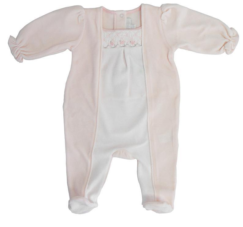 Pink & White Velour Smocked Footie - Little Threads Inc. Children's Clothing