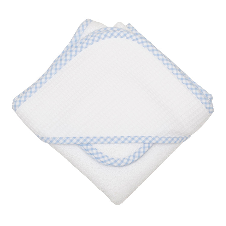 Blue Checks Hooded Towel and Wash Cloth Set - Little Threads Inc. Children's Clothing