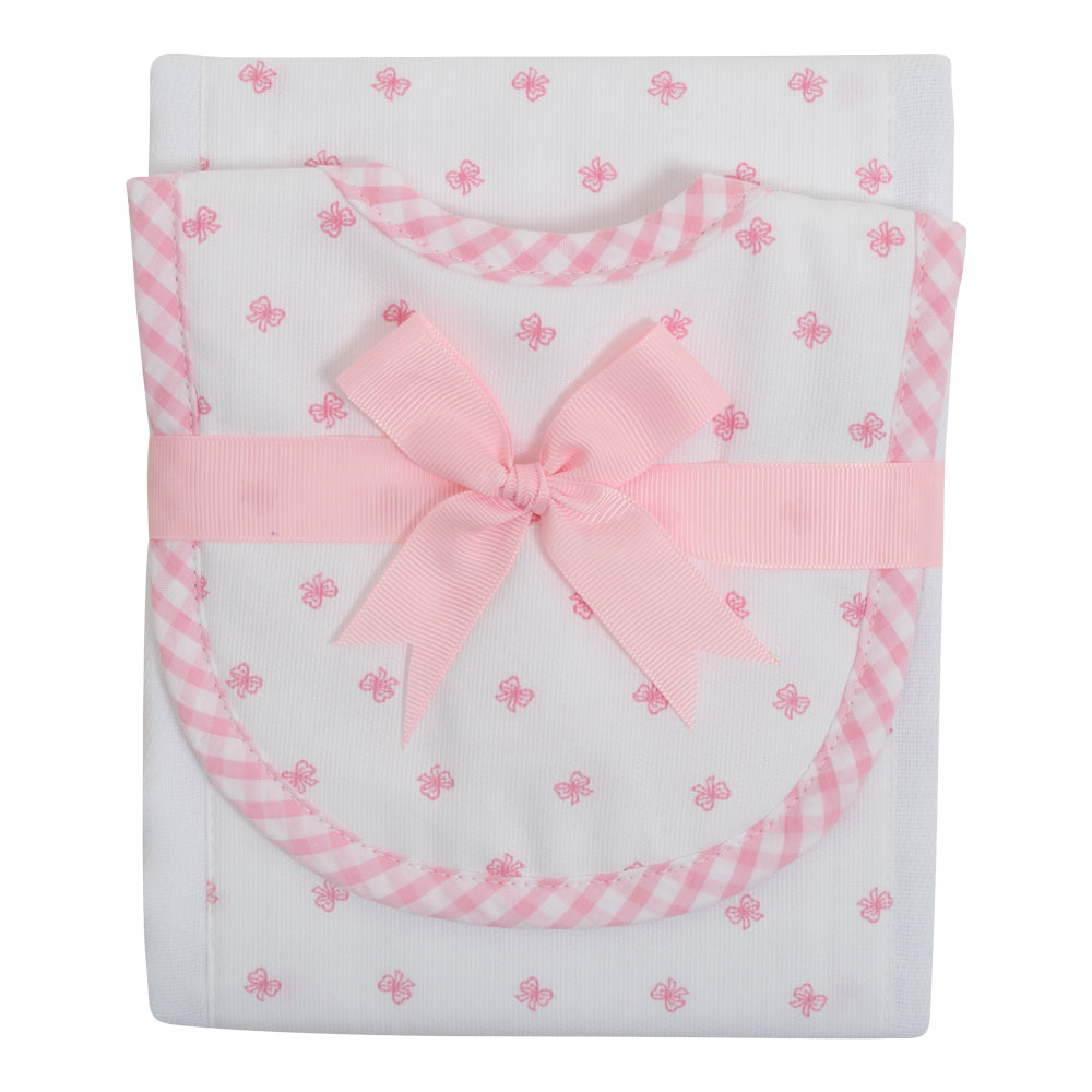 Pink Bow Burp Pad and Small Bib Set - Little Threads Inc. Children's Clothing