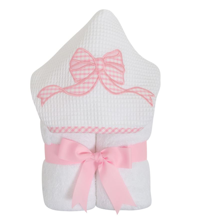 Pink Bow applique girls hooded towel. - Little Threads Inc. Children's Clothing