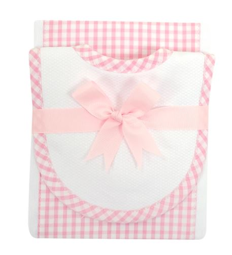 Pink Checks Baby Boy Burp Pad and small bib set - Little Threads Inc. Children's Clothing