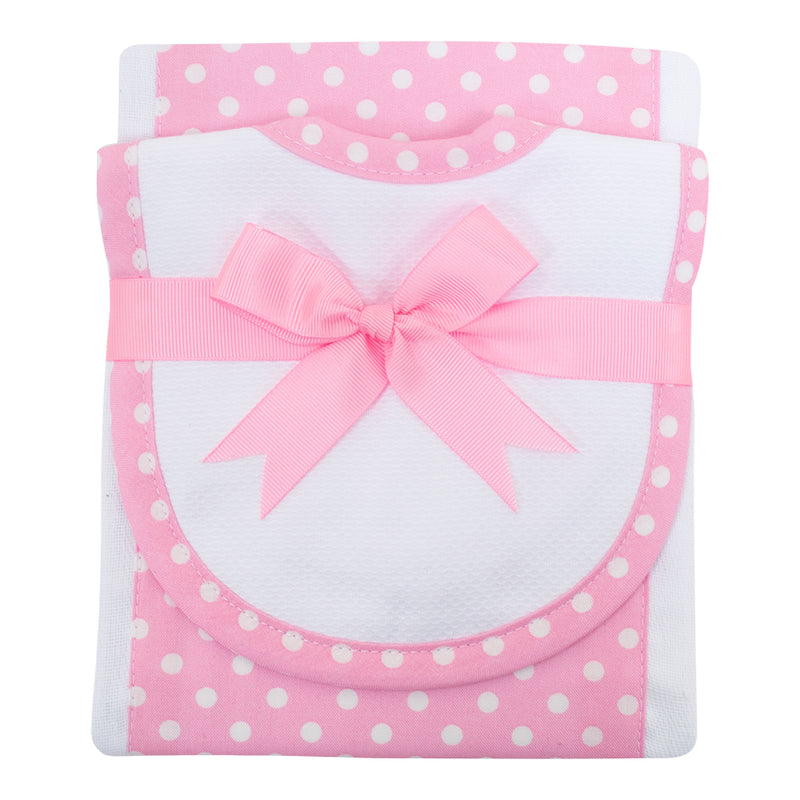 Pink Dots Burp Pad and Small Bib Set - Little Threads Inc. Children's Clothing