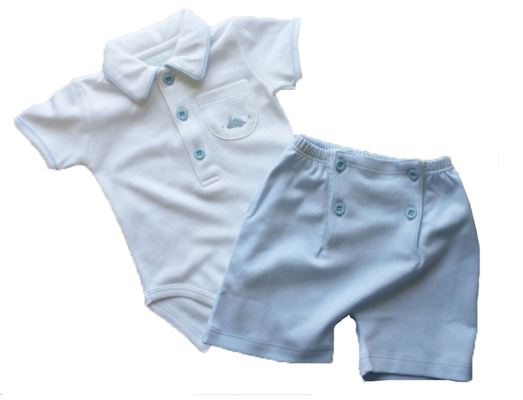 Baby Boy's Blue Bunny Onesie - Little Threads Inc. Children's Clothing