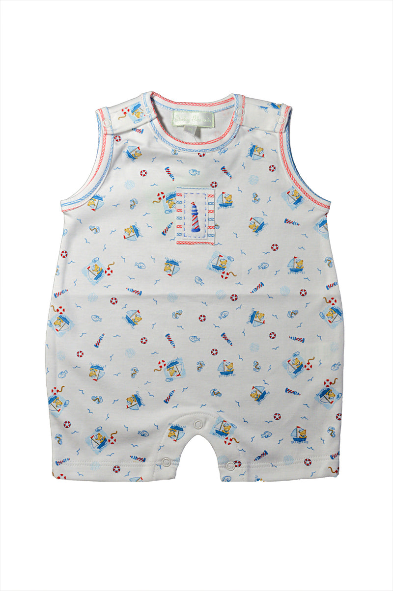 Baby boy's Nautical Bear Sleeveless Romper - Little Threads Inc. Children's Clothing